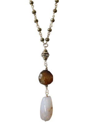 Pyrite chain with agate and chalcedony pendant necklace