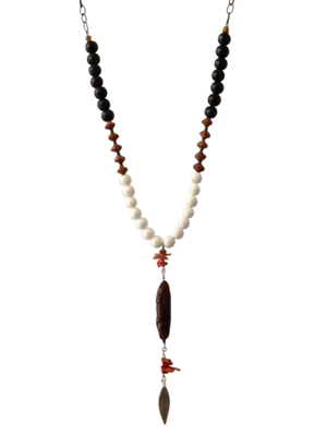 White agate, wood and coral pendant necklace