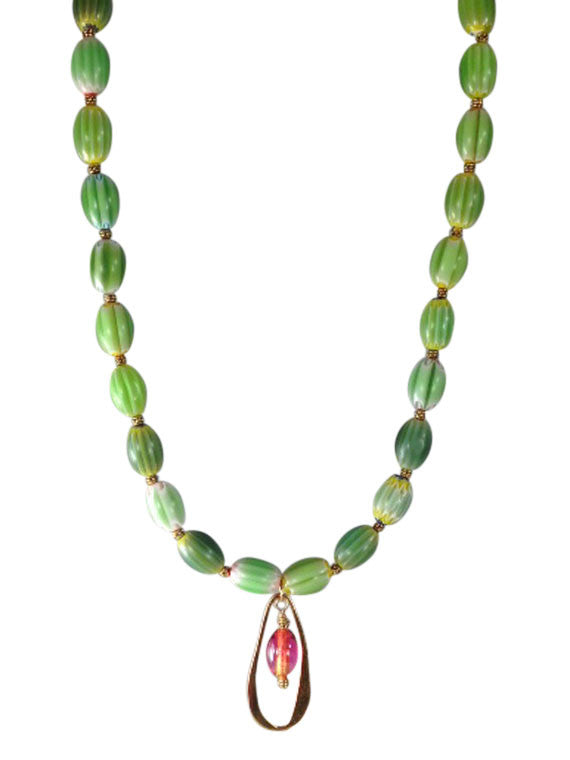 Green Italian glass beads with bronze pendant necklace