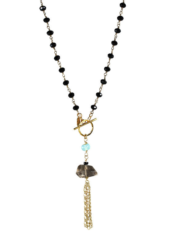 Black crystal and smoky quartz tassel necklace