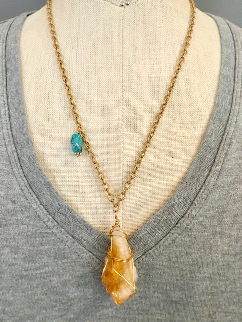 Wire wrapped geode turquoise nugget necklace