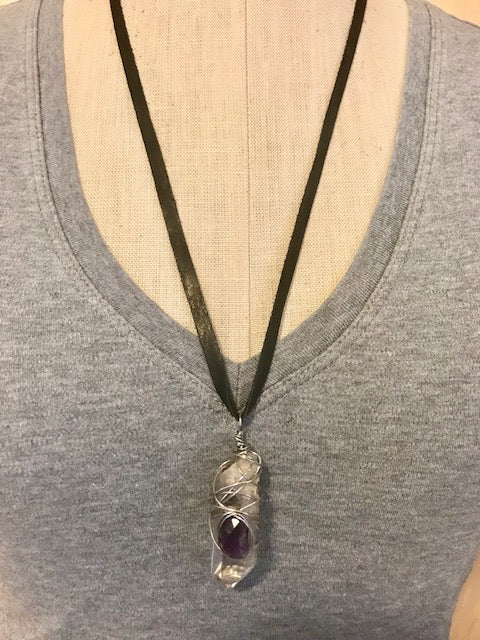 Wire wrapped geode and gemstone on deerskin necklace