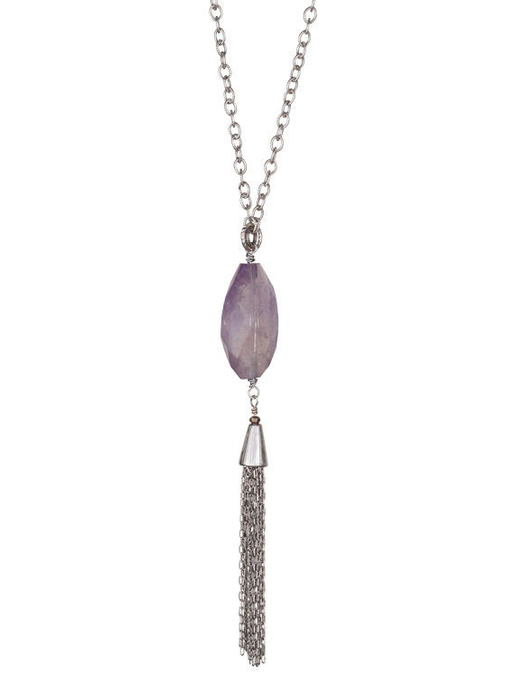 Amethyst with tassel pendant necklace