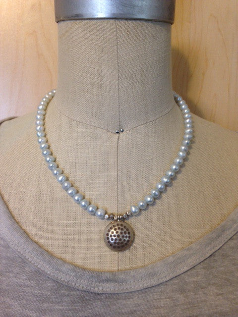 Blue pearl and Thai silver necklace