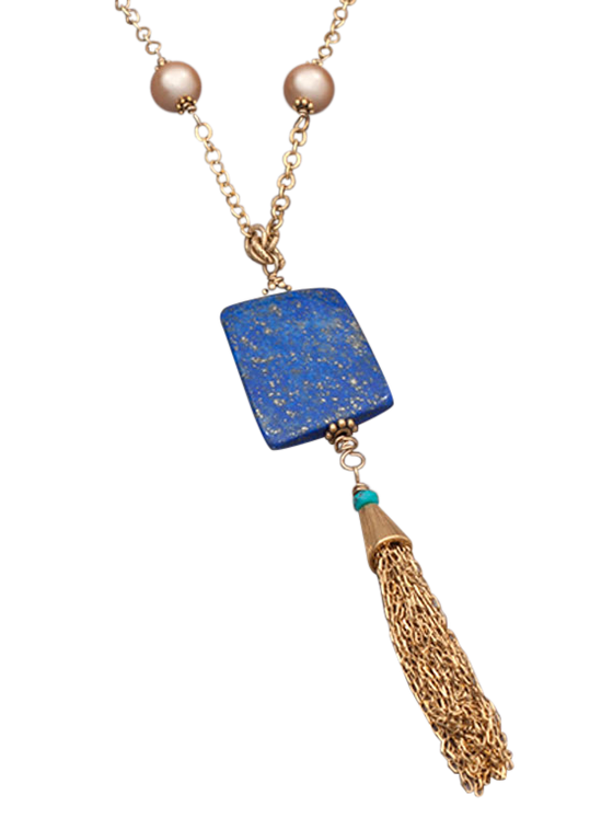 Pearl chain and lapis tassel necklace