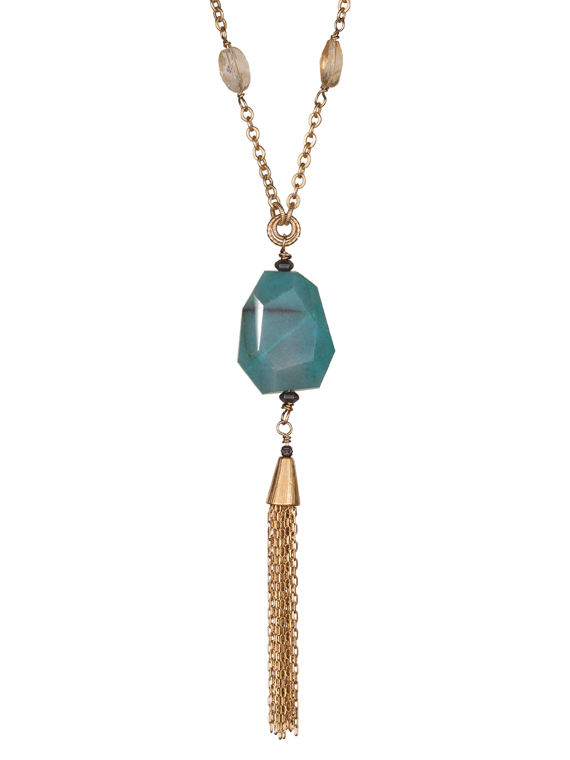 Citrine chain and chrysoprase tassel necklace
