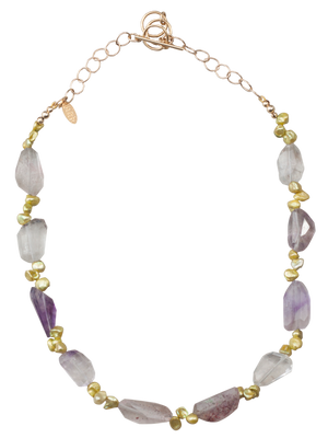 Green pearl and amethyst necklace