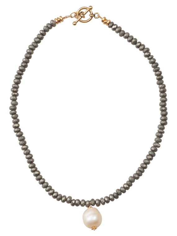 Pyrite rondels and white pearl necklace