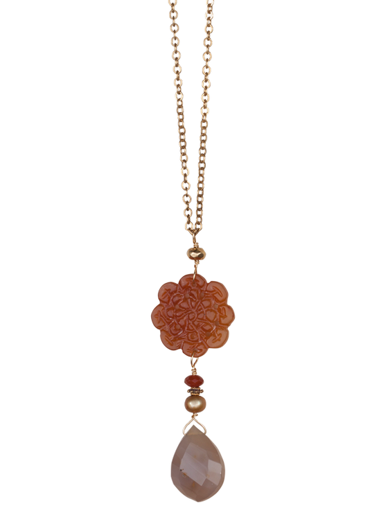 Carnelian and pearl pendant necklace
