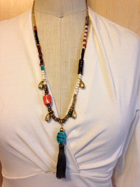 Beadsoup boho tassel pendant necklace
