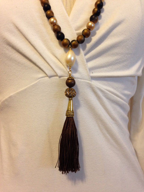 Druzy and silk tassel pendant necklace