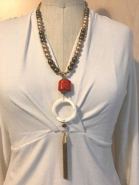Red coral and mother of pearl tassel pendant necklace