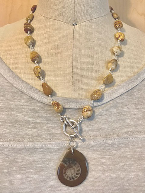 Jasper nugget and fossil pendant