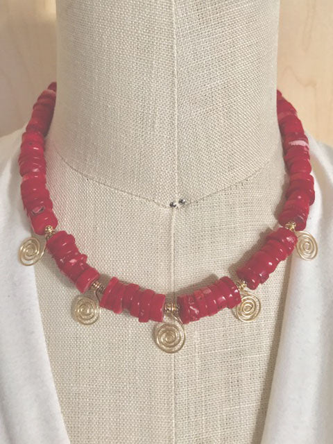 Red coral gold swirls necklace