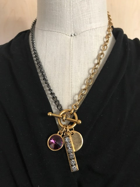 Two tone chain and charm necklace