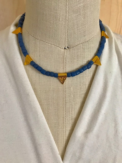 Blue African glass with gold accents necklace