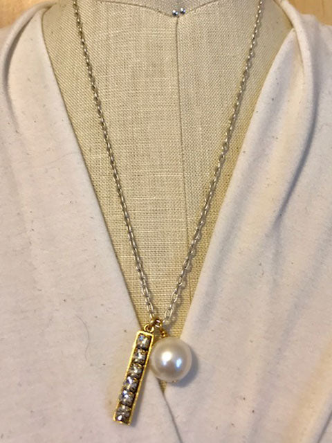 Pearl and rhinestone drop on chain necklace
