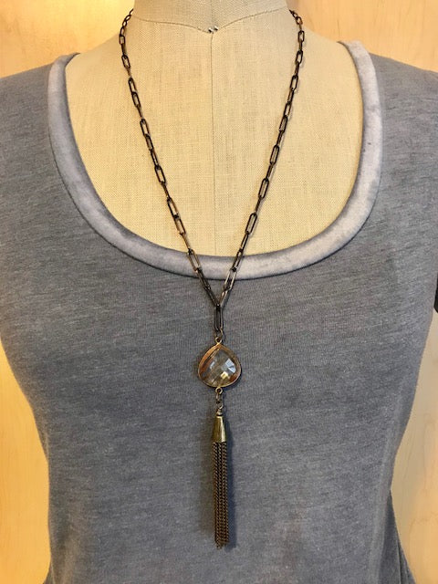 Bezel bead and tassel necklace