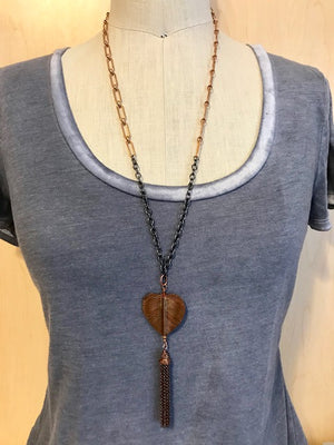 Copper heart with tassel pendant