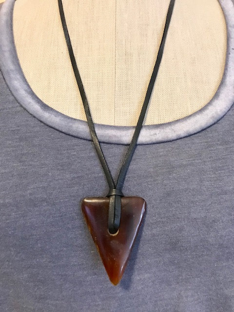 Deerskin with horn triangle necklace
