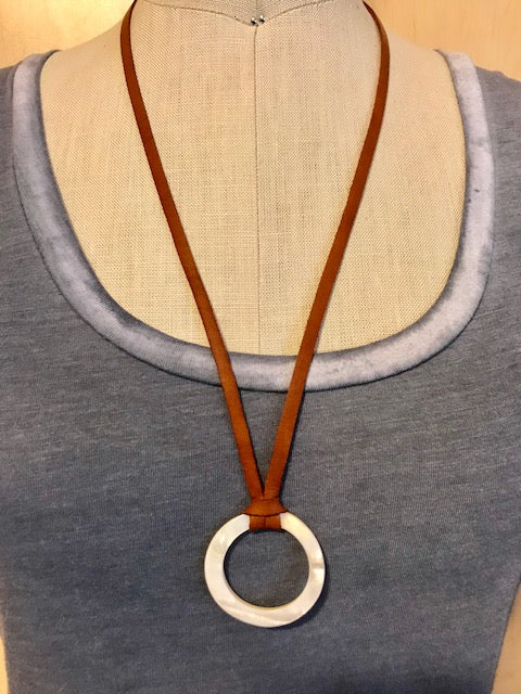 Deerskin with mother of pearl circle necklace