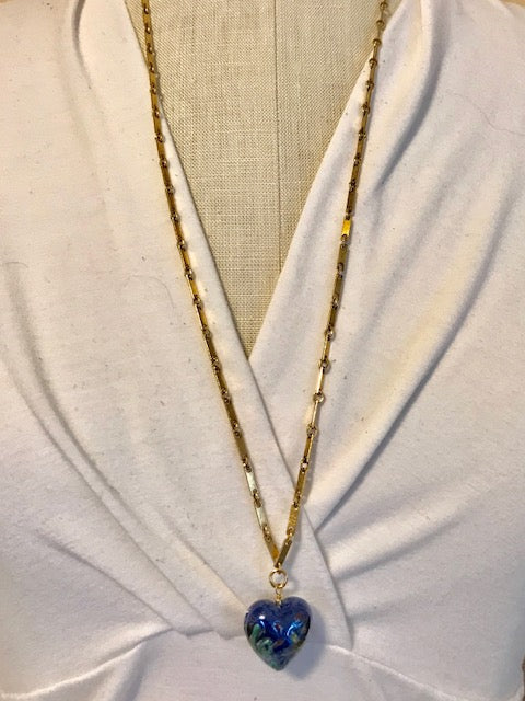 Blue glass heart on goldplated chain necklace