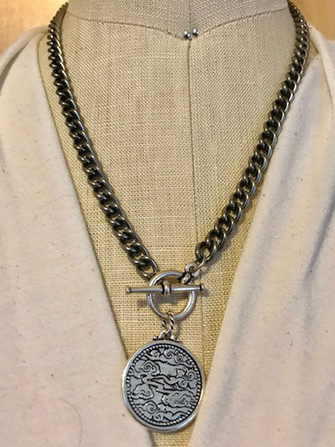 Asian style coin on an gunmetal chain necklace