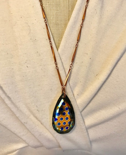 Blue dot crystal teardrop on copper chain necklace