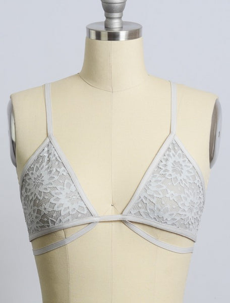 Silver Sexy Floral Strappy Bralette