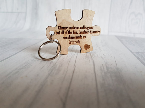 Puzzle piece keyring - Friends to colleagues