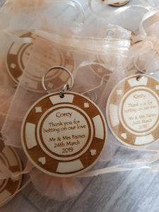 Poker chip wedding favours