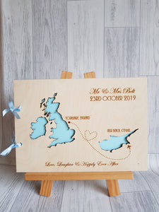 Abroad Wedding Guests Book - Two maps