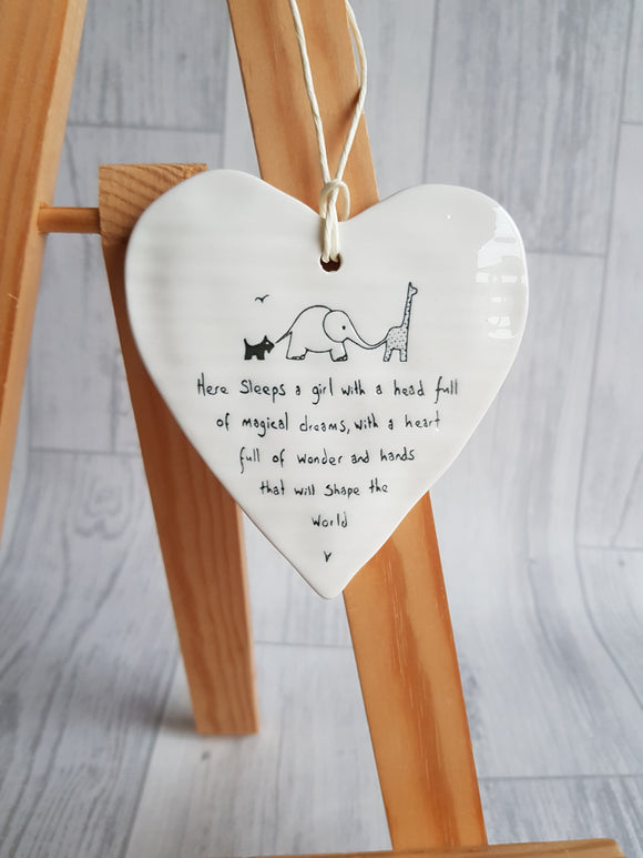 Heart Ceramic Plaque - Here sleeps a girl