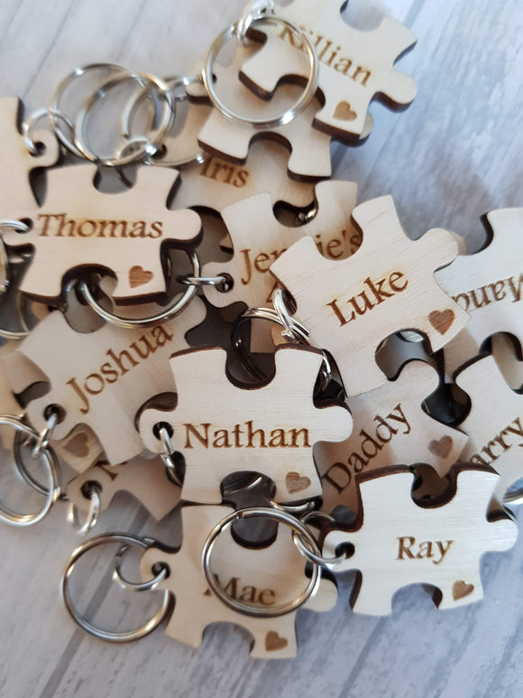 Student class keyrings puzzle pieces