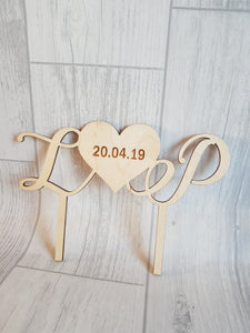 Wedding Cake Toppers - Text & Heart