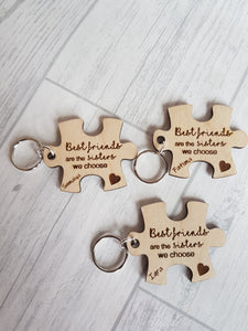 Best Friends to sisters puzzle piece keyring