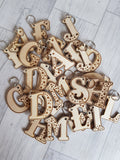 Initial wooden keyring