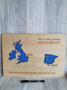 Abroad Wedding PLAQUE Mounted- Two maps