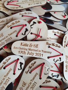 Flip flop Save the date or Thank you Favours  - Magnets or keyrings