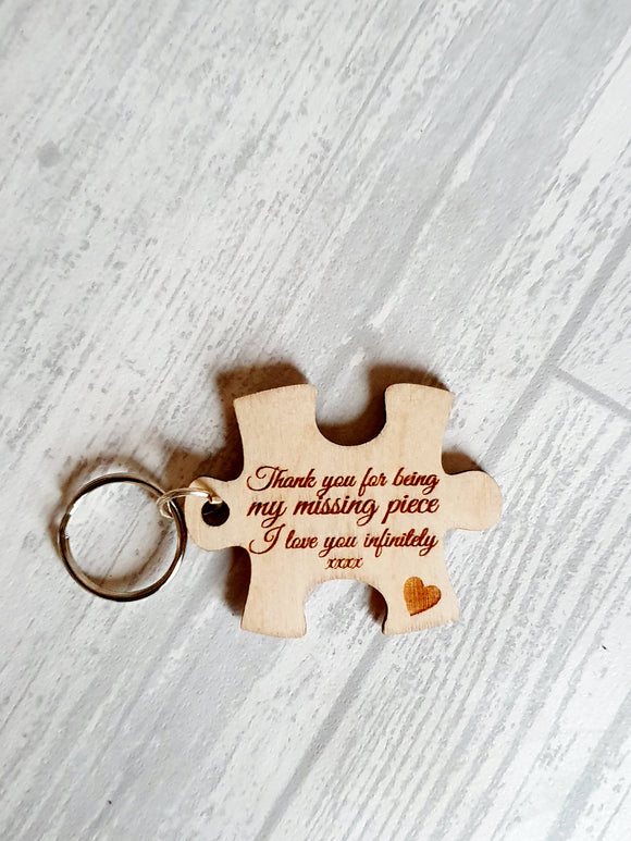 Love you infinitely puzzle piece keyring