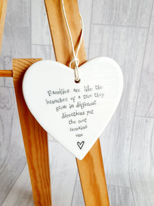 East of India - Ceramic Hanging Heart - Families Are Like Branches