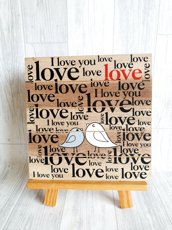 Square Love Birds plaque