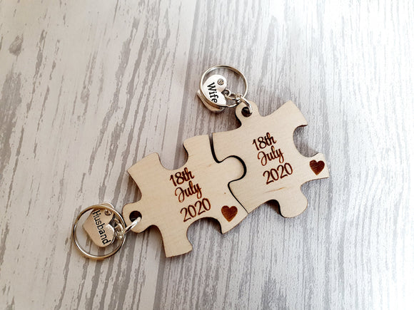 Jigsaw Piece Wedding keyring Set / His And Hers