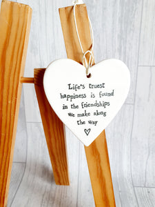 East of India - Ceramic Hanging Heart - Life's Truest Happiness