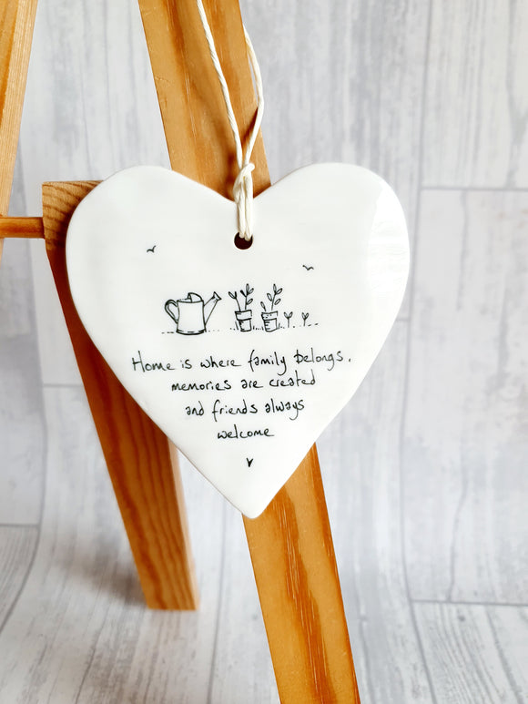 East of India - Ceramic Hanging Heart - Home is Where Family Belongs