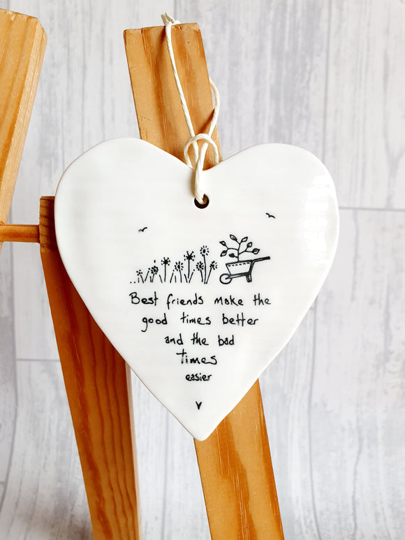 East of India - Ceramic Hanging Heart - Best Friends