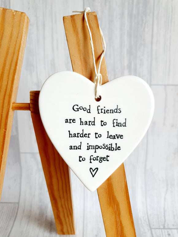 East of India - Ceramic Hanging Heart -  Good Friends