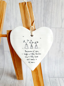 East of India - Ceramic Hanging Heart -  Because of You