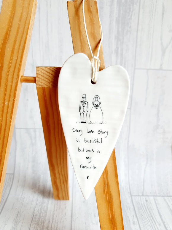 East of India - Ceramic Hanging Heart - Every Love Story