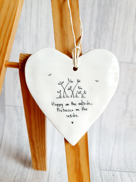 East of India - Ceramic Hanging Heart - Happy On the Outside